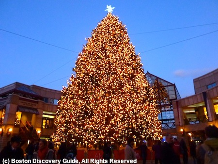 Christmas tree in Faneuil Marketplace in Boston, Massachusetts