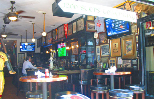 Photo of McGreevys Saloon in Boston Back Bay showing Red Sox memorabilia