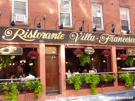 North End neighborhood in Boston - DIners in Italian restaurant