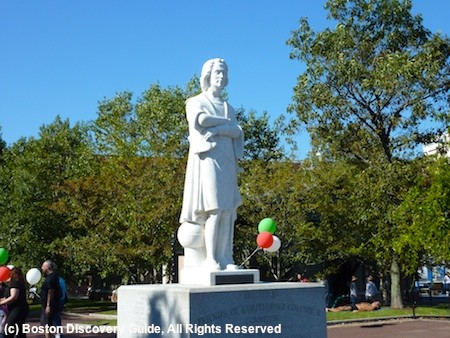 Statue of Christopher Columbus in the North End's Christopher Columbus Park