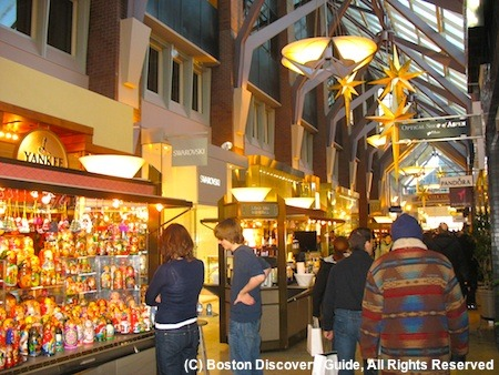 Photo of kiosks in Boston's Prudential Center