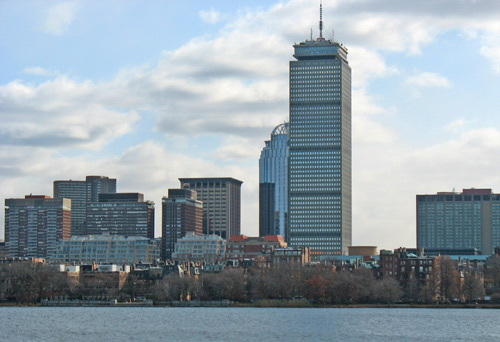 Prudential Center is the tall building to the right in this photo of Back Bay, Boston, taken from the Cambridge side of the Charles River