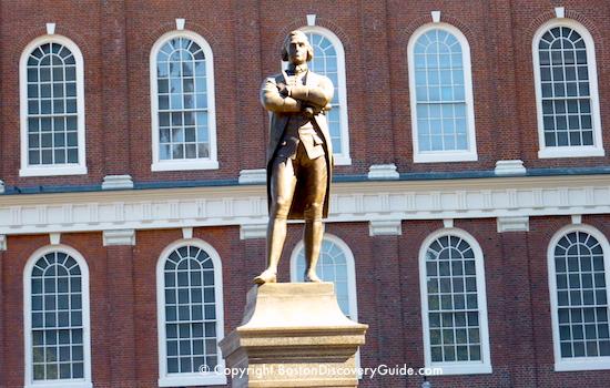 Samuel Adams statue outside Faneuil Hall in Boston