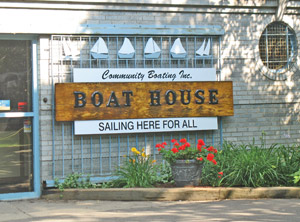 Community Boating boat house in Boston Massachusetts, next to Charles River