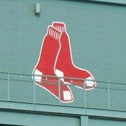 Red Sox emblem on side of Fenway Park stadium