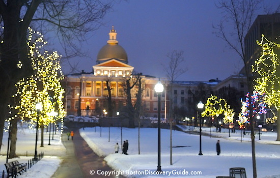 Holiday lights near the Massachusetts State House