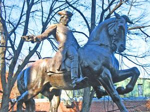 Statue of Paul Revere in Paul Revere Mall in North End of Boston, Massachusetts