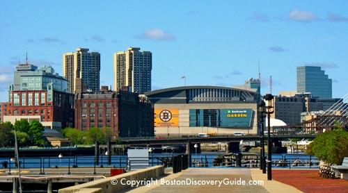 TD Garden in Boston - photo taken from Tudor Wharf near Marriott Residence Inn in Charlestown