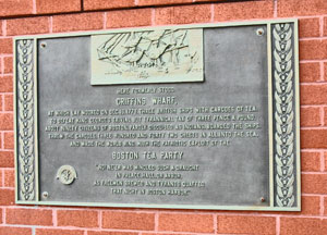 Boston Tea Party - plaque marking Griffins Wharf location