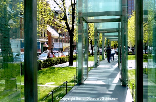Ground-level view of the New England Holocaust Memorial in Boston