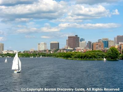 Sailboats in Charles River Basin, Boston