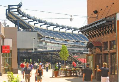 Gillette Stadium seen in the background from Patriot Place